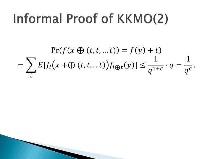 Informal Proof of KKMO(2)
