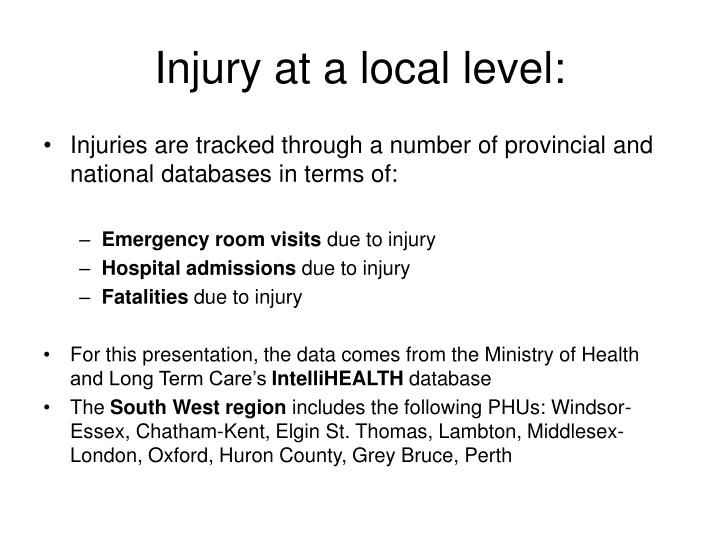 Injury at a local level:
