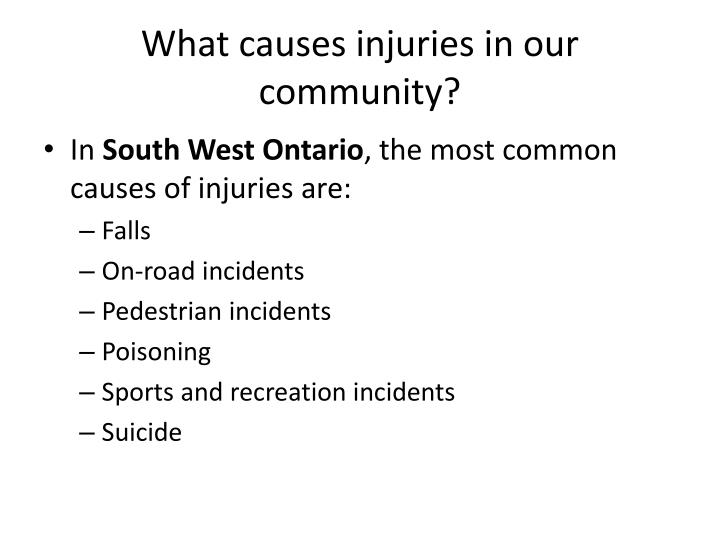 What causes injuries in our community?