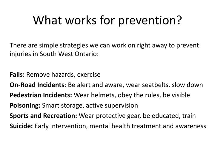What works for prevention?