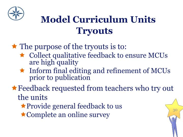 Model Curriculum Units Tryouts