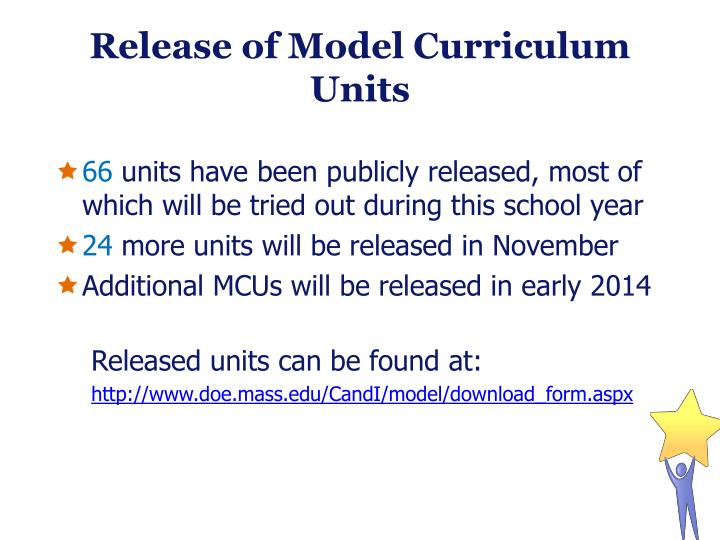 Release of Model Curriculum Units