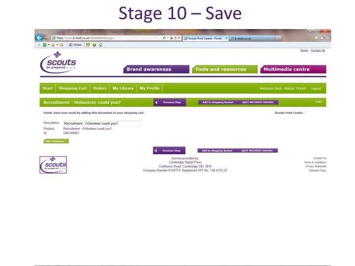 Stage 10 – Save