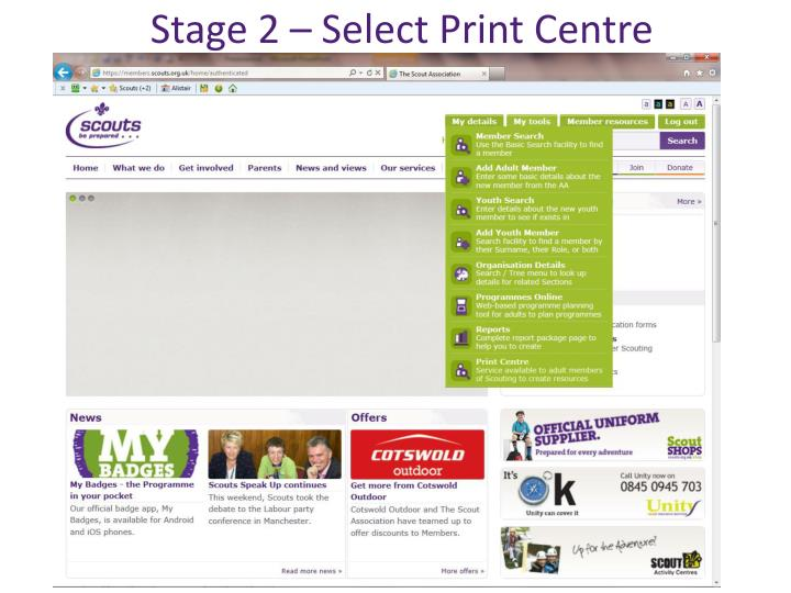Stage 2 – Select Print Centre