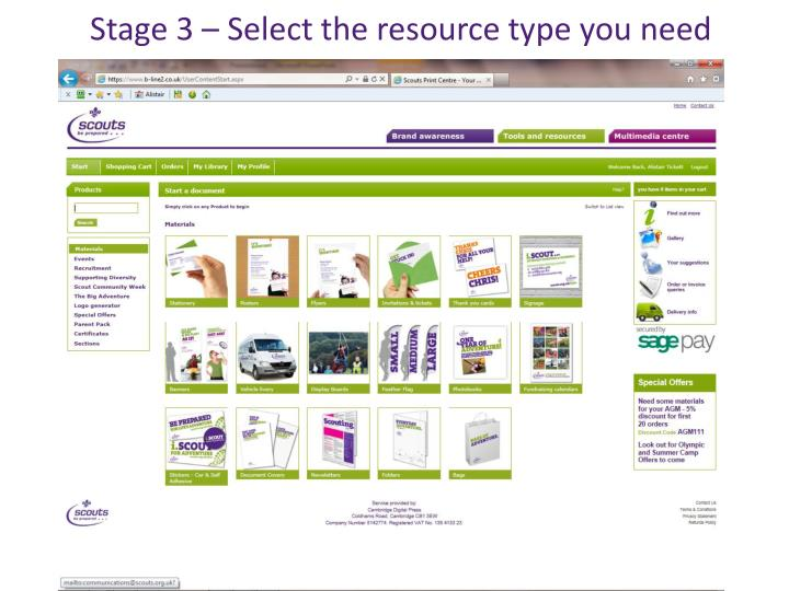 Stage 3 – Select the resource type you need