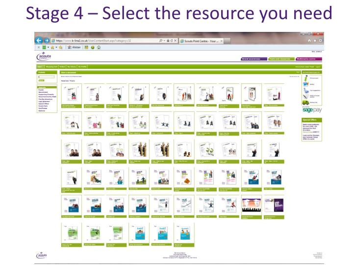 Stage 4 – Select the resource you need