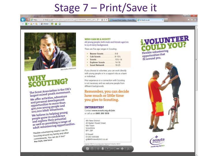 Stage 7 – Print/Save it