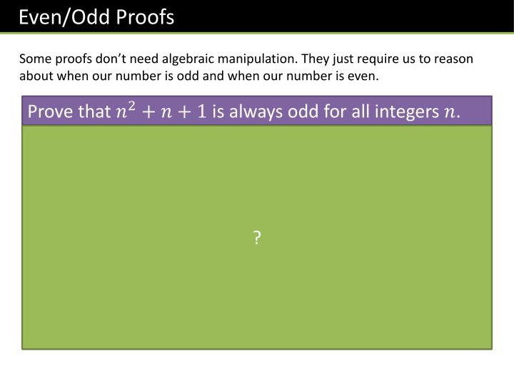 Even/Odd Proofs