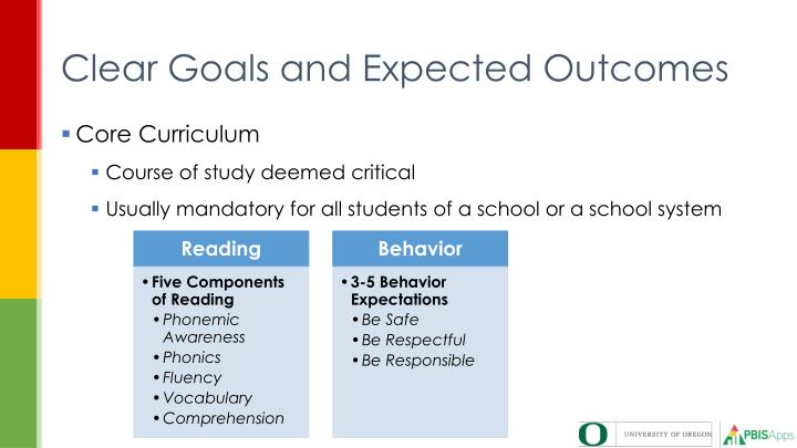 Clear Goals and Expected Outcomes