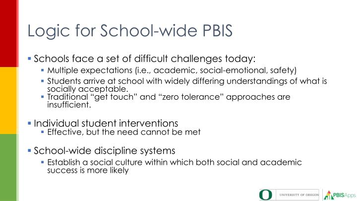 Logic for School-wide PBIS