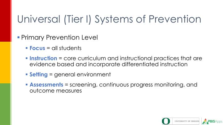 Universal (Tier I) Systems of Prevention