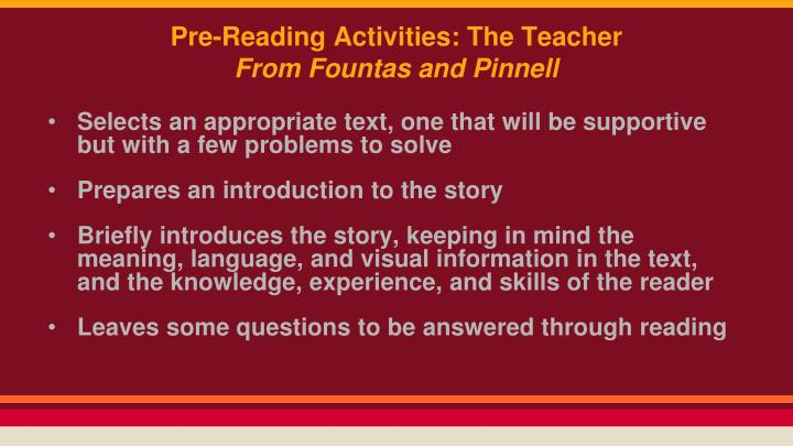 Pre-Reading Activities: The Teacher