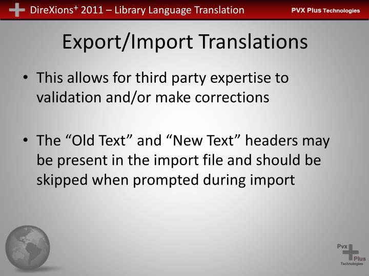 Export/Import Translations