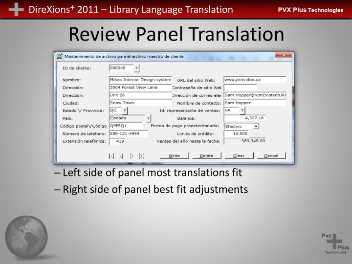 Review Panel Translation