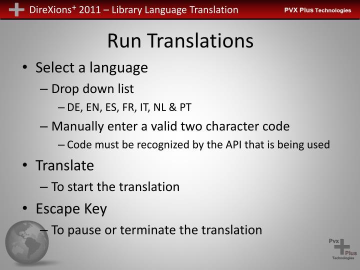 Run Translations