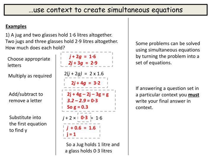 …use context to create simultaneous equations