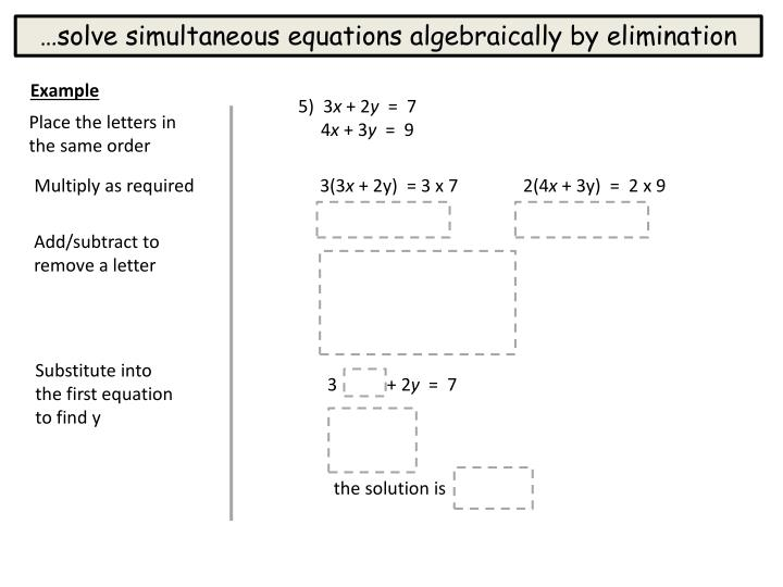 …solve simultaneous equations algebraically by elimination