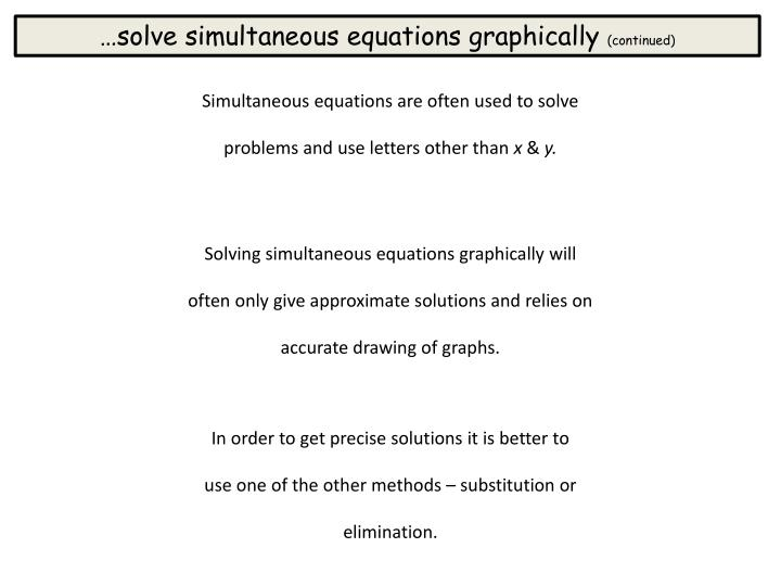 …solve simultaneous equations graphically