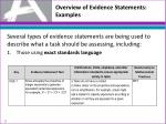 overview of evidence statements examples