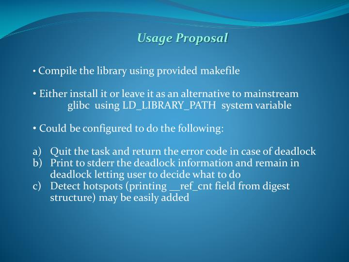 Usage Proposal