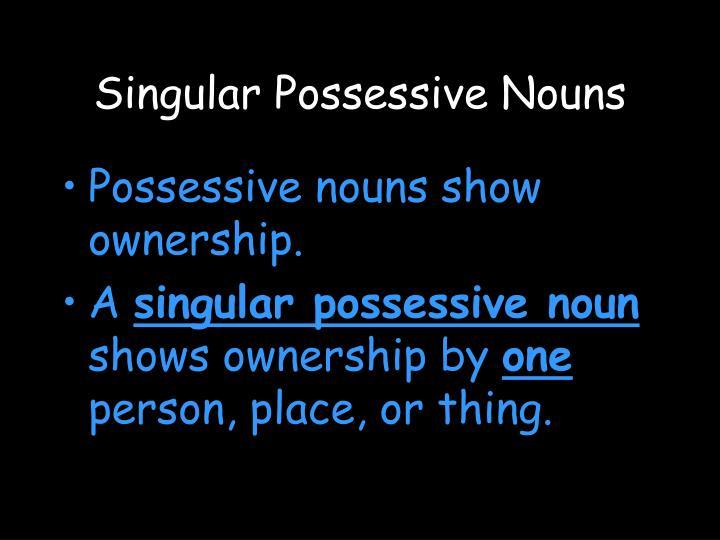 Singular Possessive Nouns
