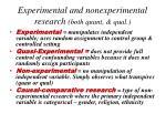experimental and nonexperimental research both quant qual