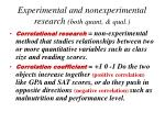 experimental and nonexperimental research both quant qual1