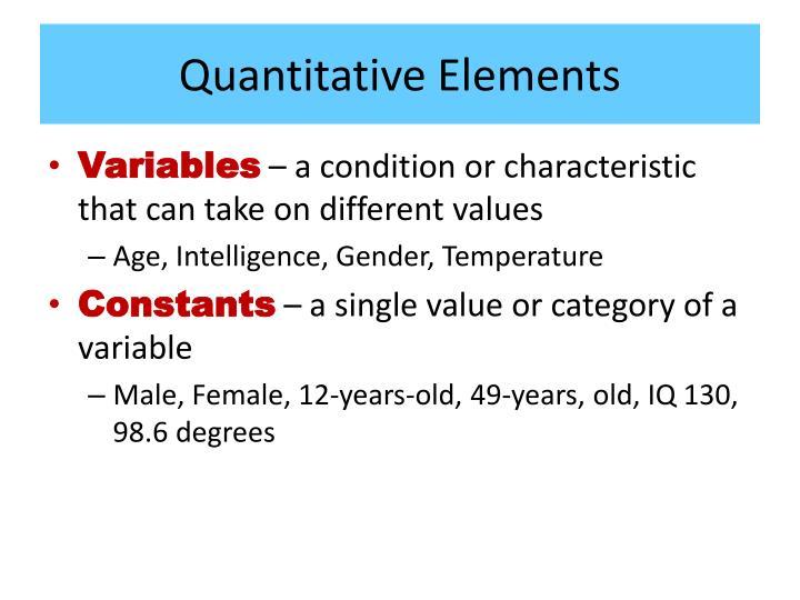 Quantitative Elements