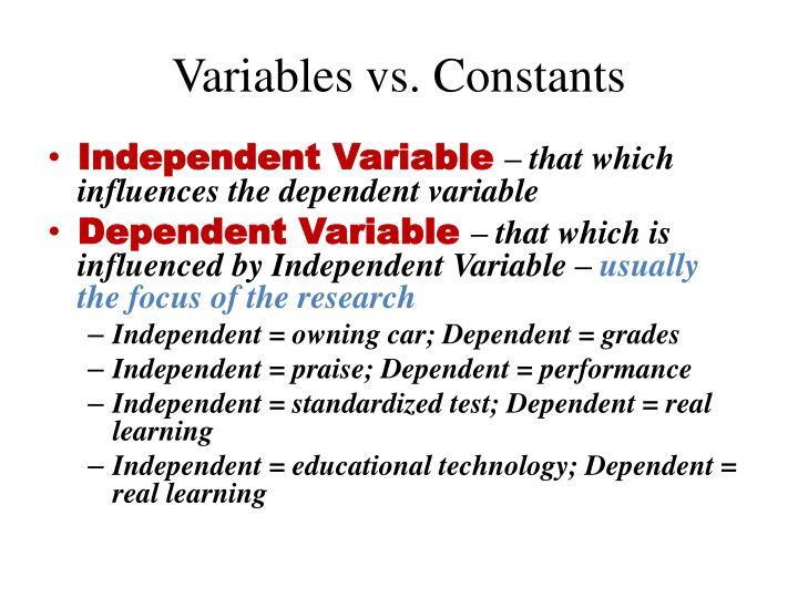 Variables vs. Constants