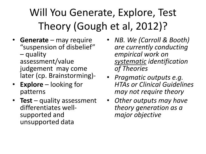 Will You Generate, Explore, Test Theory (Gough et al, 2012)?