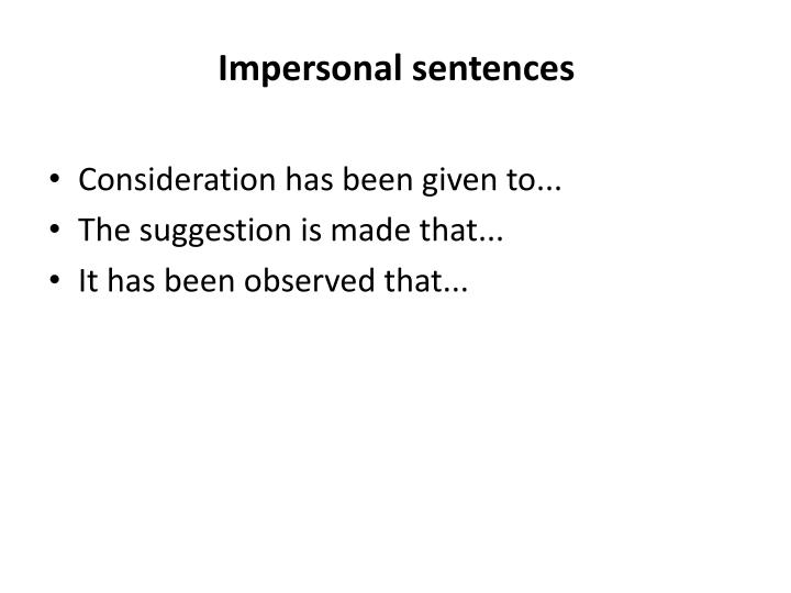 Impersonal sentences