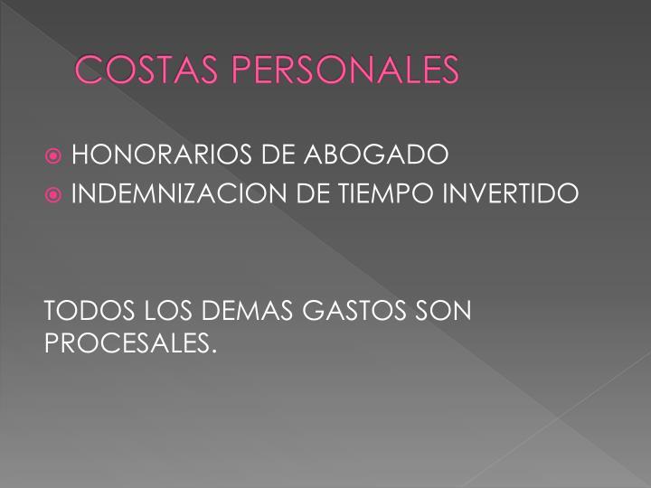 COSTAS PERSONALES
