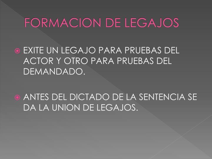 FORMACION DE LEGAJOS