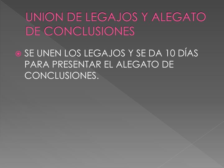 UNION DE LEGAJOS Y ALEGATO DE CONCLUSIONES