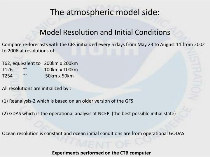The atmospheric model side: