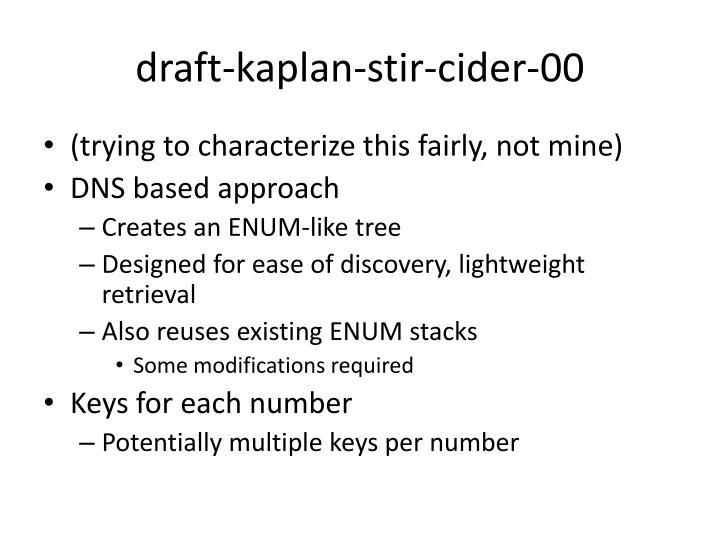 draft-kaplan-stir-cider-00