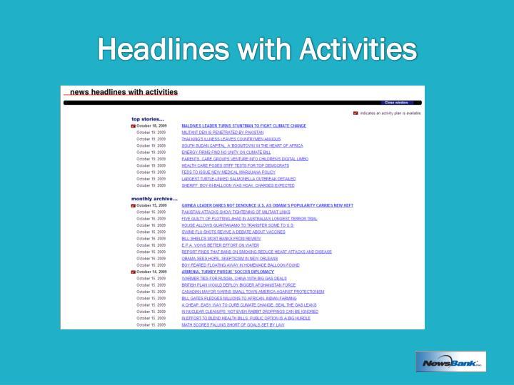 Headlines with Activities