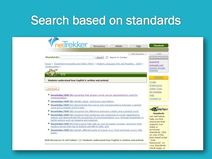 Search based on standards