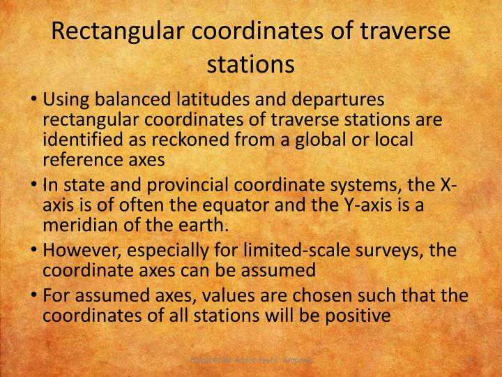 Rectangular coordinates of traverse stations