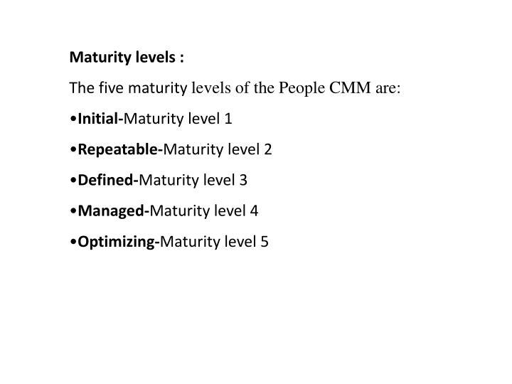 Maturity levels :