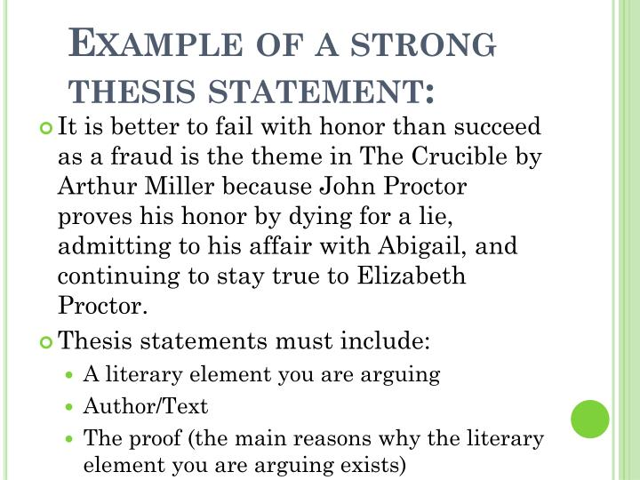 Example of a strong thesis statement: