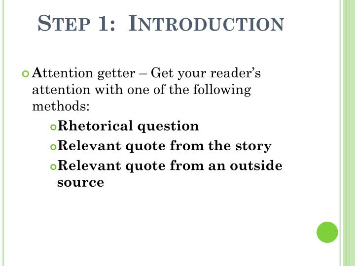 Step 1:  Introduction