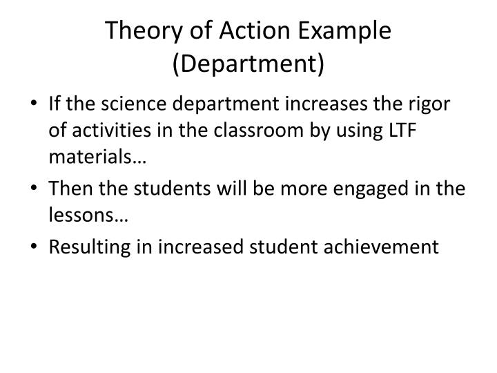 Theory of Action Example (Department)