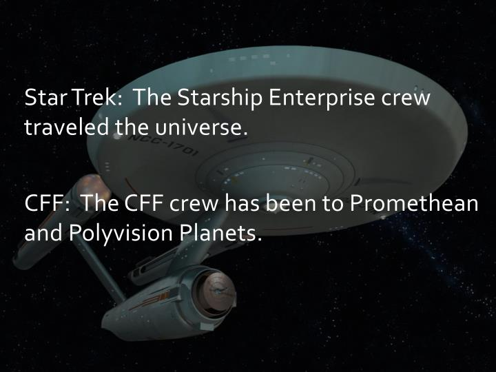 Star Trek: The Starship Enterprise crew traveled the universe.