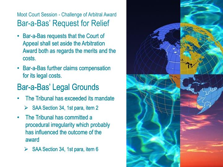 Moot Court Session - Challenge of Arbitral Award