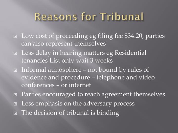 Reasons for Tribunal