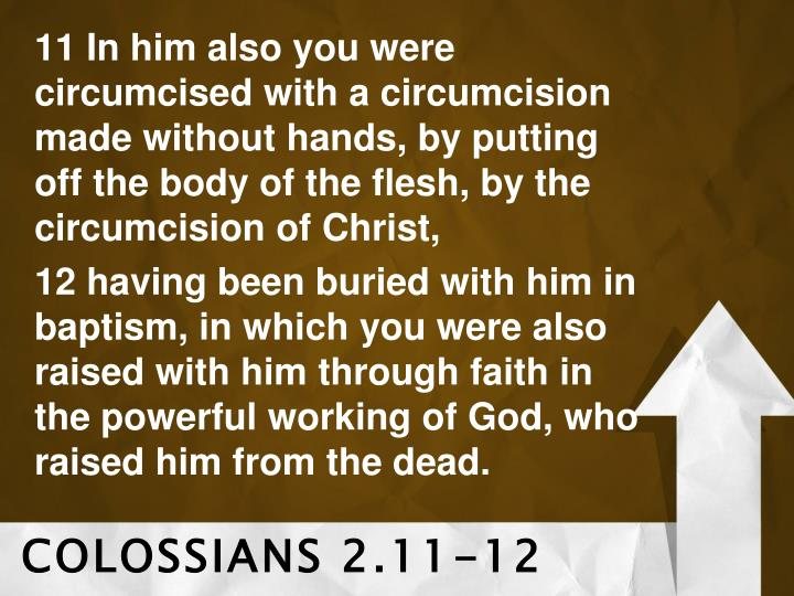 11 In him also you were circumcised with a circumcision made without hands, by putting off the body ...