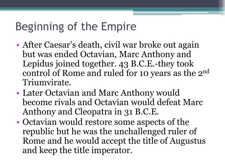 Beginning of the Empire