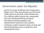 government under the republic