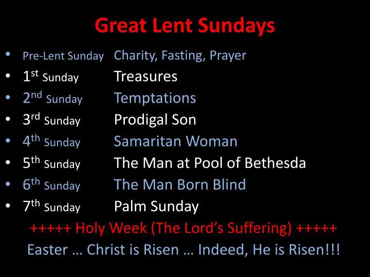 Great Lent Sundays